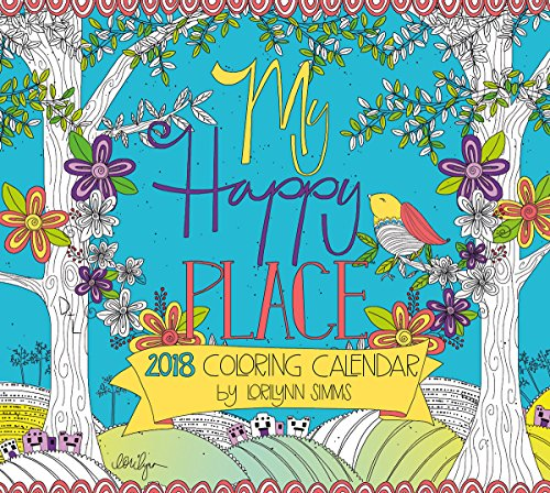 """LANG - 2018 """"Coloring"""" Wall Calendar - """"My Happy Place"""", Artwork by Lorilynn Simms - 12 Month, Open Size 13.4"""" X 24"""""""