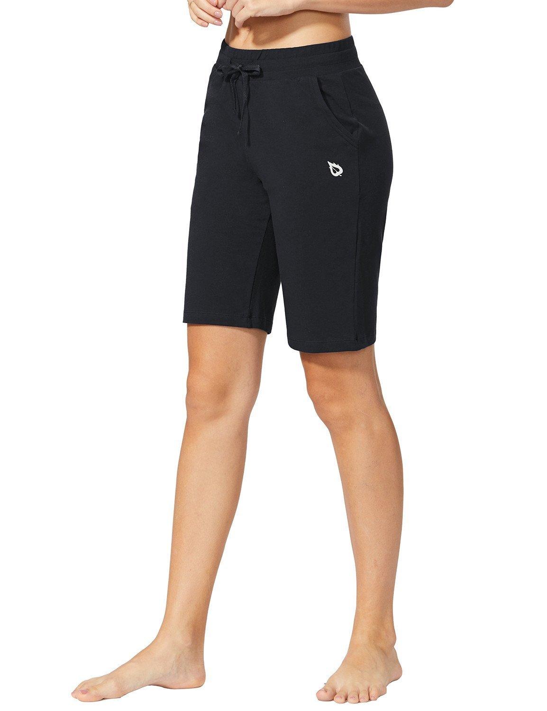 Baleaf Women's Active Yoga Lounge Bermuda Shorts with Pockets Black Size L by Baleaf (Image #4)