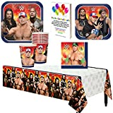 WWE Birthday Party Supplies Pack Kit Bundle Plates Cups Napkins Tablecover for 8 Guests by Parties Can Be Simple
