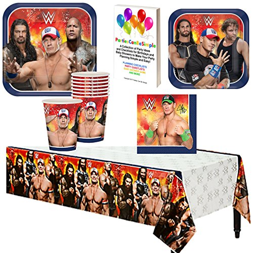 WWE Birthday Party Supplies Pack Kit Bundle Plates Cups Napkins Tablecover for 8 Guests by Parties Can Be Simple by Parties Can Be Simple