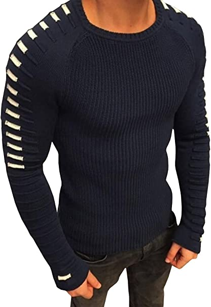 Casual Men Long Sleeve Crewneck Jumper Warm Knitted Sweater Solid Under Shirt CD
