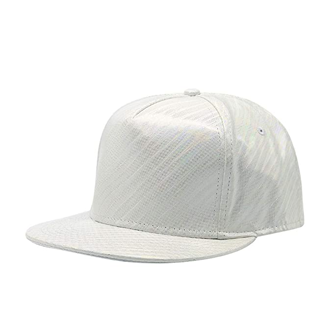 8f711caf31c71 Shiny Holographic Baseball Cap Laser Leather Rainbow Reflective Glossy  Snapback Hats (Beige-1)