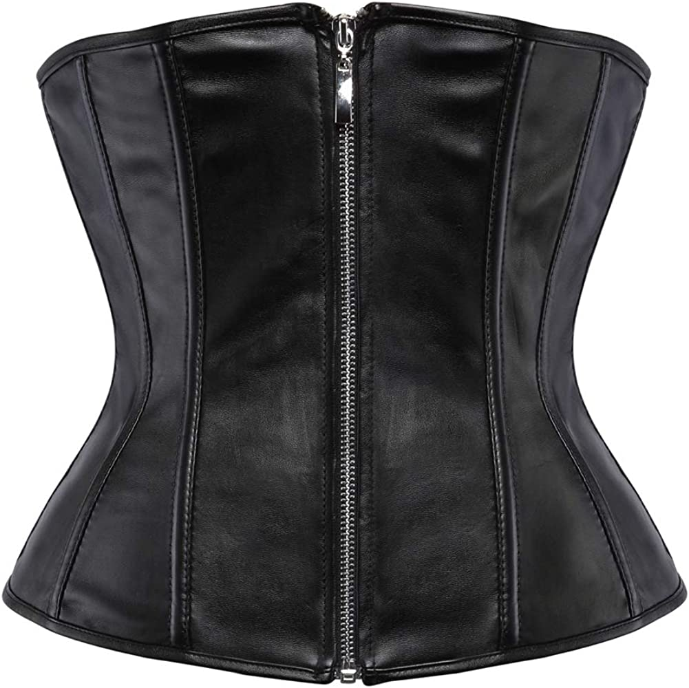 Grebrafan Gothic Faux Leather Zip Underbust Waist Cincher Corsets