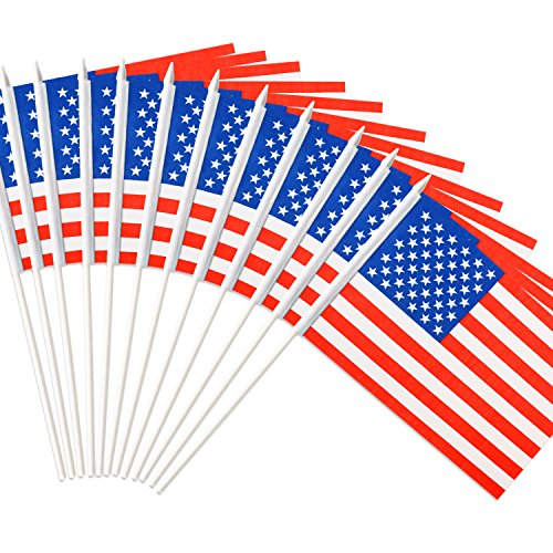 Anley USA Stick Flag, American US 5x8 inch HandHeld Mini Flag With 12