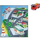 """Dickie Toys 203096003 - Feuerwehrmann Sam Spielmatte """"Stadt"""", Spielteppich, Spielset mit Feuerwehrauto Jupiter, Licht- und Soundfunktion, 1:64"""