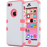 Coque iPhone 5c, ULAK iPhone 5c Case Housse de Protection Anti-choc Matériaux Hybrides en Silicone Souple et PC dur Coque pour Apple iPhone 5c (Blanc+Rose)
