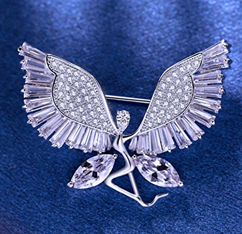 Aismkj Zircon Pearls Corsage Brooches Ladies Women 's Angel Wings Shawl Clasp