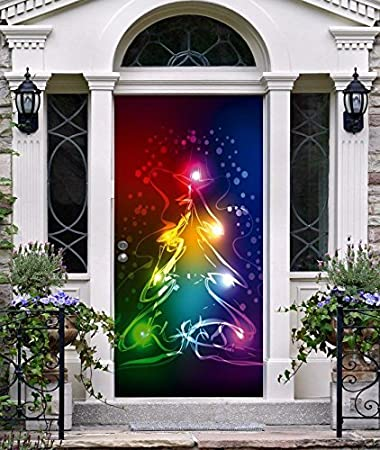 Superior Christmas Tree Entry Door Cover Front Door Outdoor Home Holiday Full Color  Murals Outside Decoration For