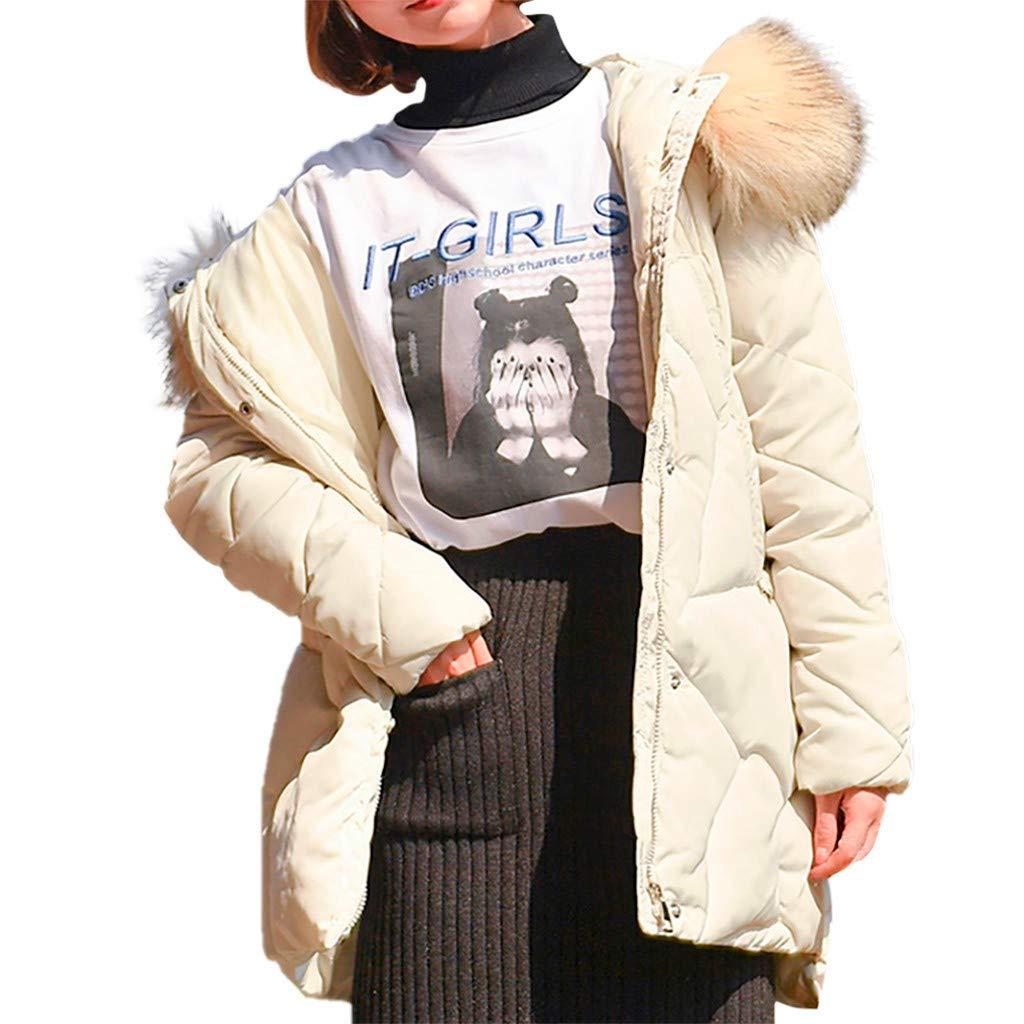 WUAI-Women Winter Warm Coat Hooded Thickened Down Puffer Jacket with Faux Fur Hood(White,X-Large by WUAI-Women