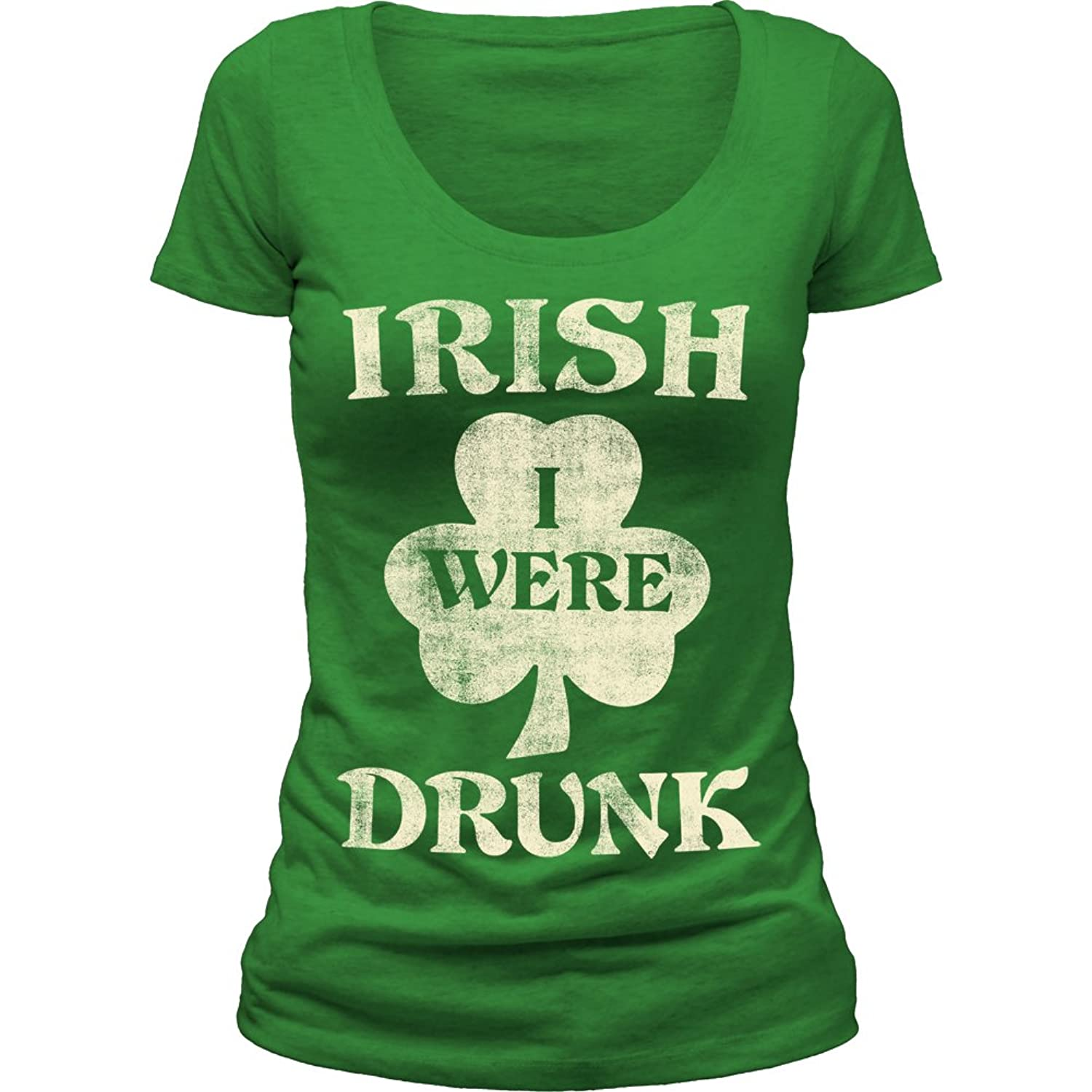 Impact Originals Irish I Were Drunk Juniors Scoop Neck T-Shirt Tee