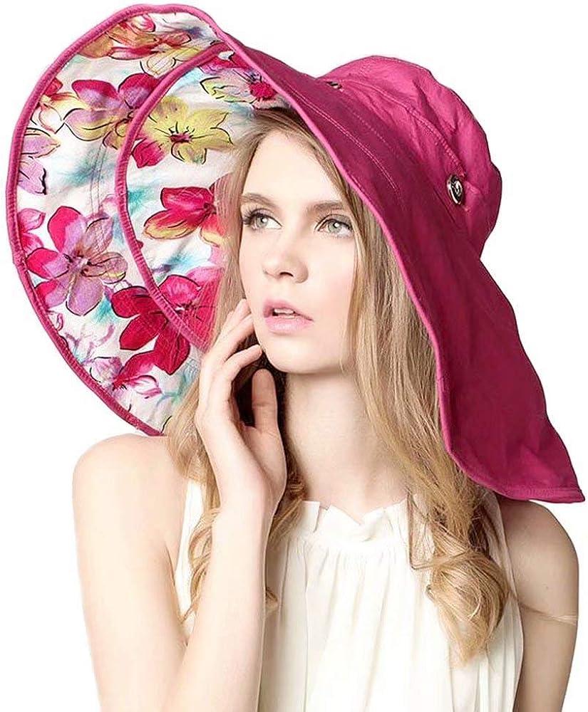 Flywill Faltbarer Sonnenhut Sommerhut UPF 50 Damen Shade Sonnenhut mit Breite Krempe UV-Schutz Blumenmuster Hut aus Baumwolle mit Schaltfl/äche Anti-UV Hat
