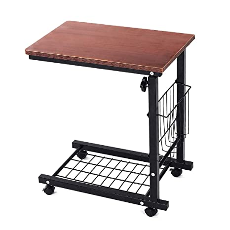 Qwork Height Adjustable Sofa Side Table Wheel Mobile Computer Desk With  Storage Basket For Small Spaces