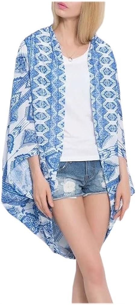 Women's Vintage Boho Kimono Cardigan Floral Print with Fring FLS12 Large Blue