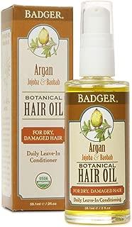 product image for Badger - Argan Hair Oil, Jojoba & Baobab, Hair Oil for Dry Damaged Hair, Leave-In Conditioning, Organic Hair Oil, Argan Oil for Hair, Argan Organic Hair Oil, Argan Oil Organic, 2 fl oz