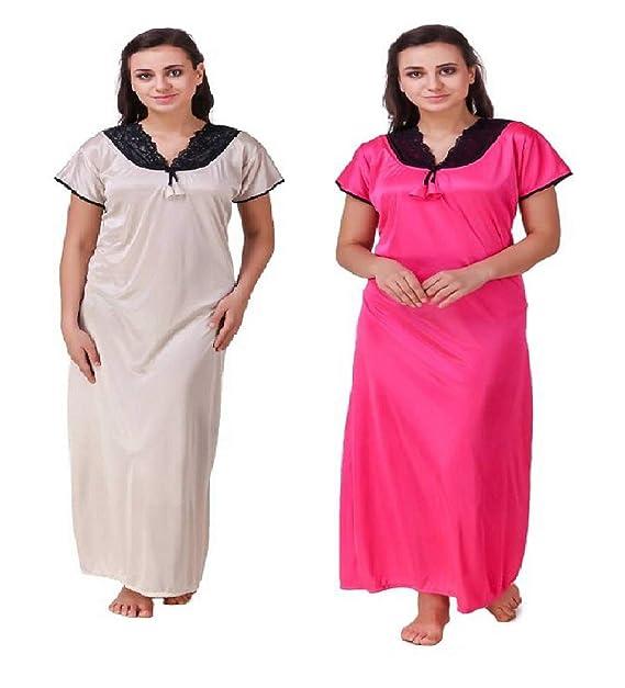 Diljeet® Women Girls Beautiful Satin Rani(Pink) Nighty Off-White ... 036e69801