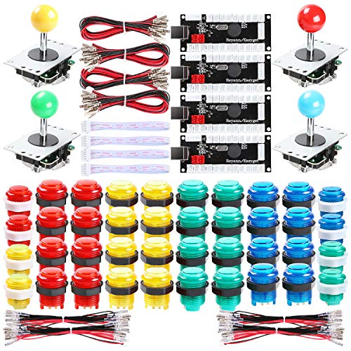 Hikig 4 Player LED Arcade Games DIY Kit, 4X Fighting Joystick + 40x LED Arcade Buttons + 4X USB Encoder for PC MAME & Raspberry Pi 1/2/3, - Player Kit 4