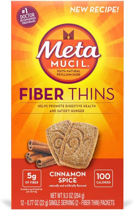 Special Pack of 5 METAMUCIL FIBER THINS CINNAMON, .77oz, 12 per pack