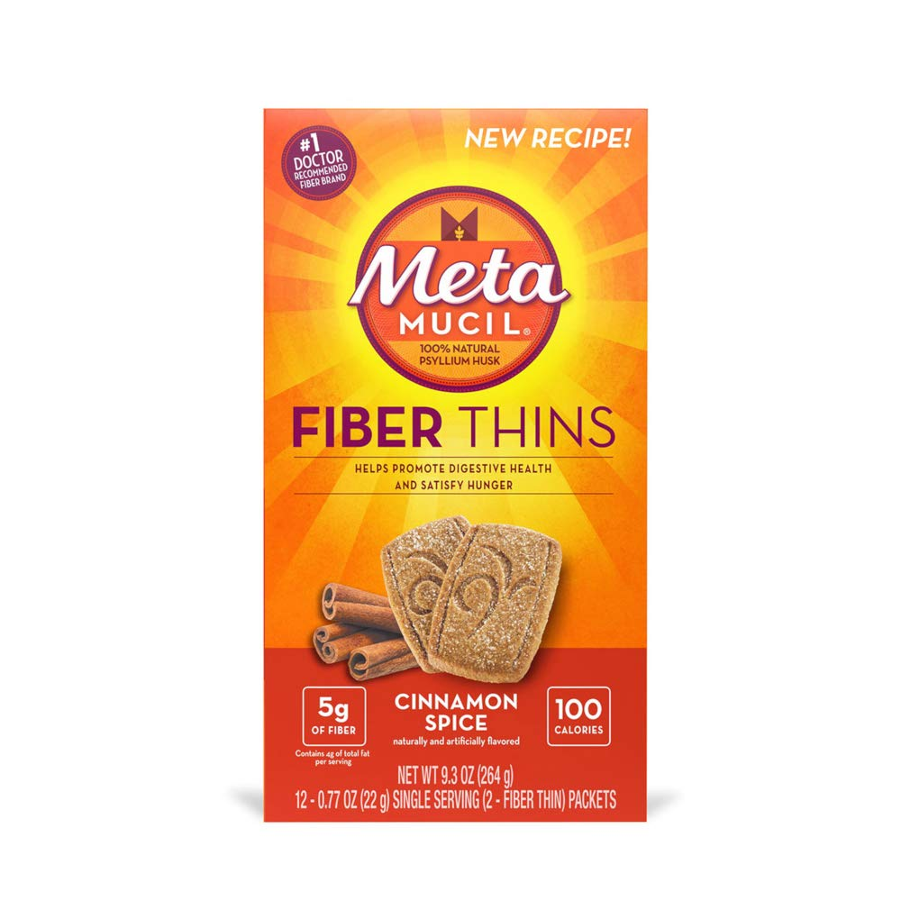 Special Pack of 5 METAMUCIL FIBER THINS CINNAMON, .77oz, 12 per pack by Med-Choice