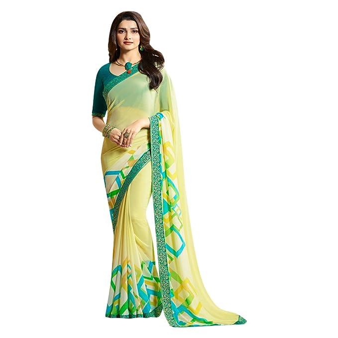 Indian bollywood prachi desai georgette saree Saris étnico para mujer bordado seda Sari último diseñador sari