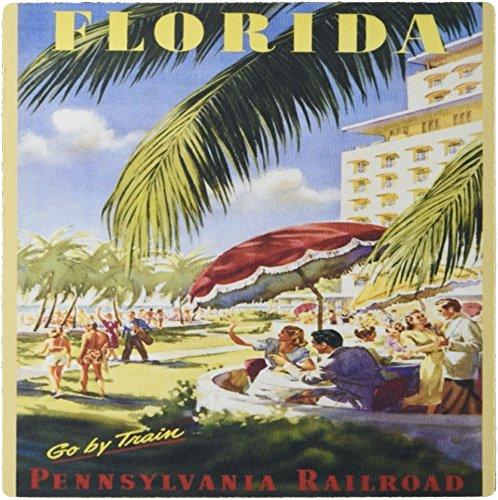 3dRose LLC 8 x 8 x 0.25 Inches Mouse Pad, Florida Vintage Train Ad (mp_163663_1) Ad Train