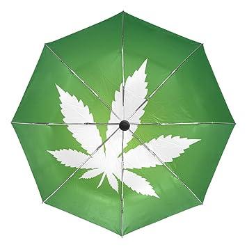 BENNIGIRY Paraguas Marijuana Hoja Verde UV Anti Ligero Sombrilla Elegante Reverso 3 Plegable Drop Sturdy Paraguas