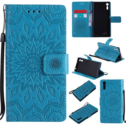 Price comparison product image Xperia XZ / XZs Wallet Case,A-slim(TM) Sun Pattern Embossed PU Leather Magnetic Flip Cover Card Holders & Hand Strap Wallet Purse Case for Sony Xperia XZs / XZ - Blue