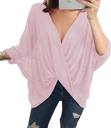junkai Camisa Tejida Oversize Top para Mujeres - Camisa de ...