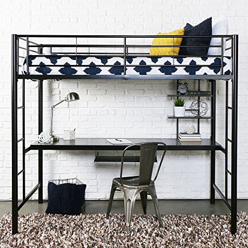 Futon Workstation Bunk Bed - Walker Edison Twin Metal Loft Bed with Workstation, Back