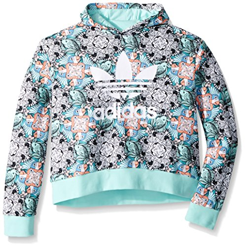 (adidas Originals Big Girls' Zooanimal Print Hoodie, Multi/Clear Mint/White, XL)