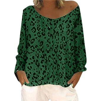 Blusa para mujer con estampado de leopardo, cuello en V ...