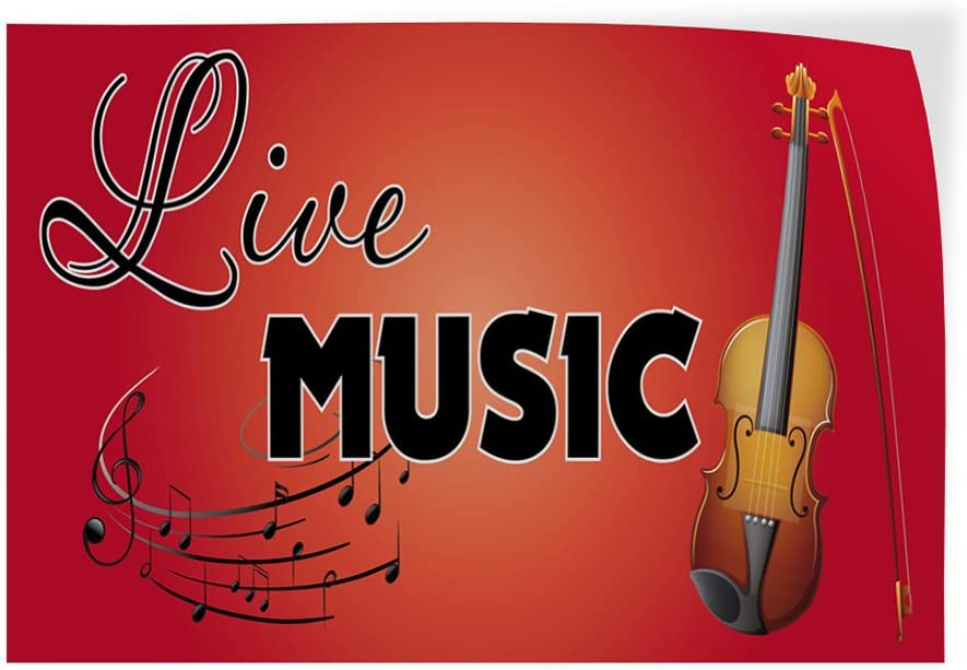 Set of 2 54inx36in Decal Sticker Multiple Sizes Live Music #1 Style C Lifestyle Live Music Outdoor Store Sign Red