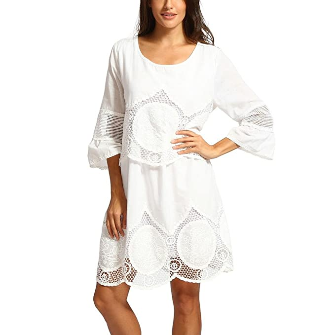 Kangma Women Summer Plus Size Lace Embroidery Hollow-Out Round Neck Boho  Beach Dress White