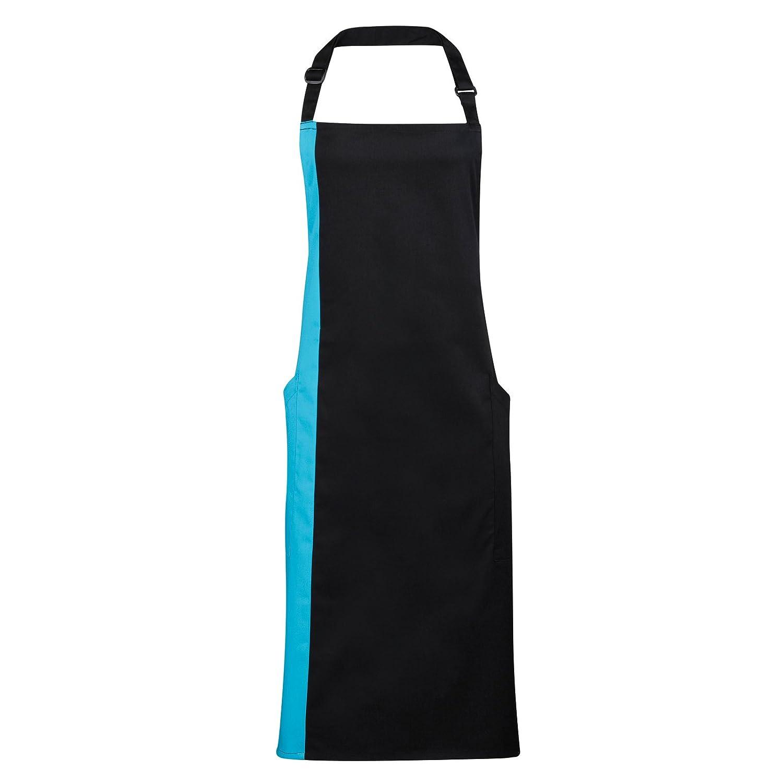 Premier Unisex Contrast Workwear Bib Apron (One Size) (Black/ Hot Pink) UTRW2812_2