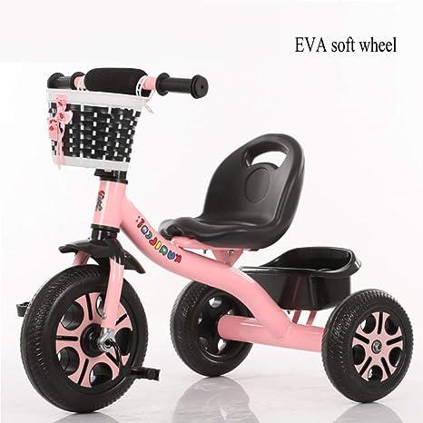 TH Triciclo para Niños Bicicleta, Varilla De Empuje Desmontable, Rueda Blanda EVA 75x45x55 Cm