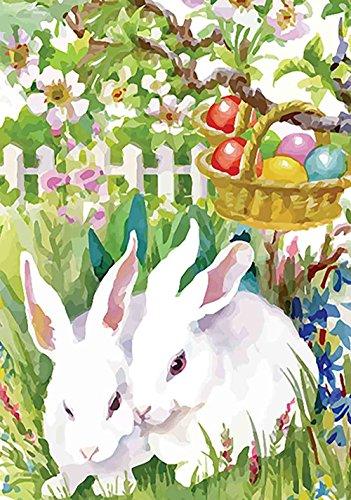 Morigins Easter Garden Bunny Eggs Decorative Double Sided Spring House Flag 28 x 40 inch