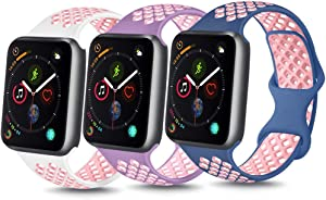 YILED [Pack 3] Bands Compatible with Apple Watch Band 38mm 40mm 42mm 44mm, Soft Silicone Replacement Band for iWatch Series 6 5 4 3 2 1 SE (White pink/Violet/Blue pink, 42mm/44mm S/M)