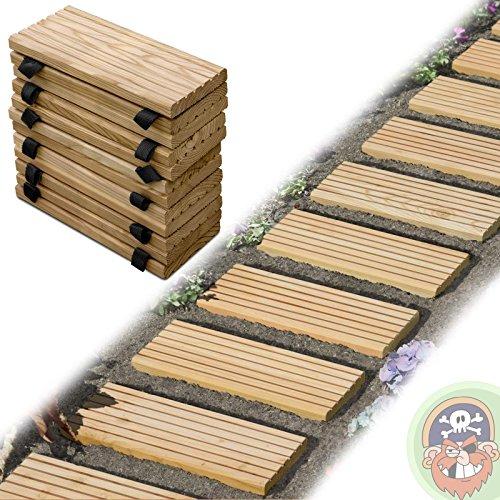 Rollweg Holz 25x250 cm Gartentritte Holz-Tritte, Holz-Fliesen für den Weg im Garten von Gartenpirat®