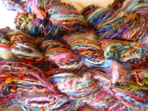 Handspun Art Yarn - The Rainbow - Multicolored Multi Textured Wool/angora/alpaca/acrylic/metallic Yarn
