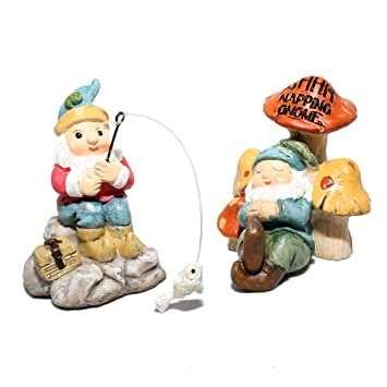 Giftcraft Set Of 2 Miniature Fairy Garden Gnomes   Fishing And Napping