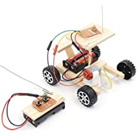Children DIY RC Car Toy, DIY Wooden RC Car Model Kit Remote Control Car Toy Set Kids Educational Toy Wood Vehicle Assembly Kits Educational Science Technology Kits