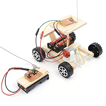 New Development DIY Wooden Electric Racing Car Assembly Model Kit Boy Kids Toy