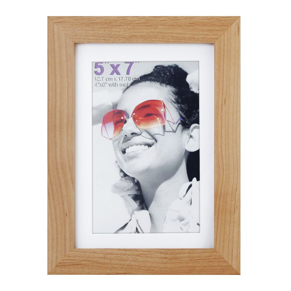 RPJC 5x7 inch Picture Frames Made of Solid Wood and High Definition Glass Display Pictures 4x6 with Mat or 5x7 Without Mat for Wall Mounting Photo Frame Natural by RPJC