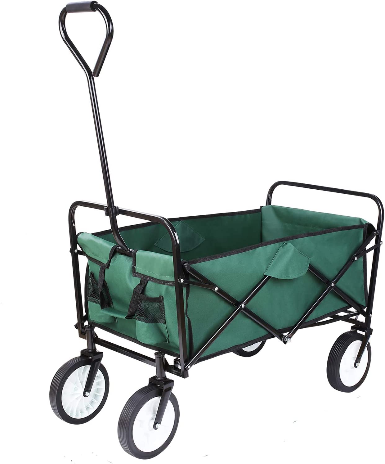 FIXKIT Collapsible Outdoor Utility Wagon, Folding Sturdy Garden Shopping Cart for Beach with All-Terrain Wheels, Dark Green
