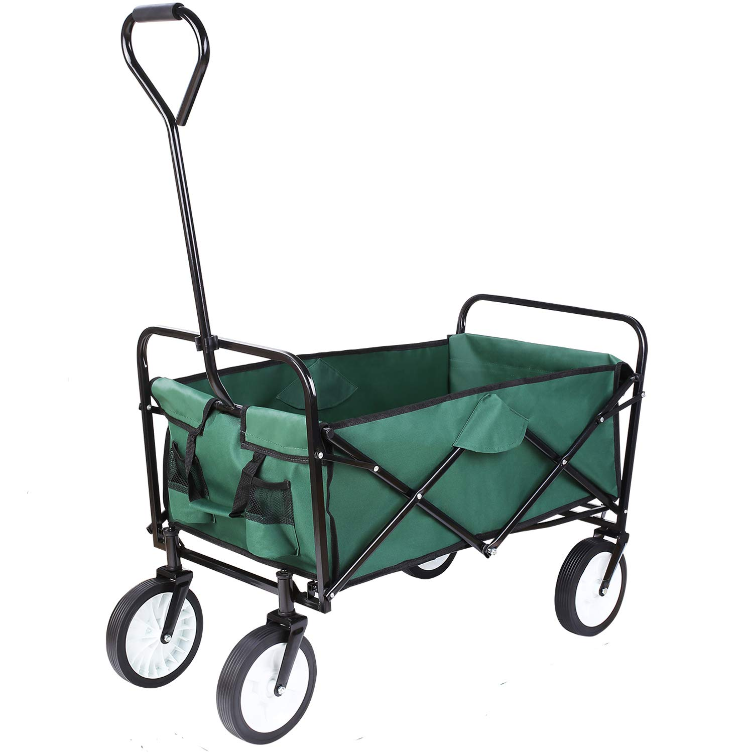 FIXKIT Collapsible Outdoor Utility Wagon, Folding Sturdy Garden Shopping Cart for Beach with All-Terrain Wheels, Dark Green by FIXKIT