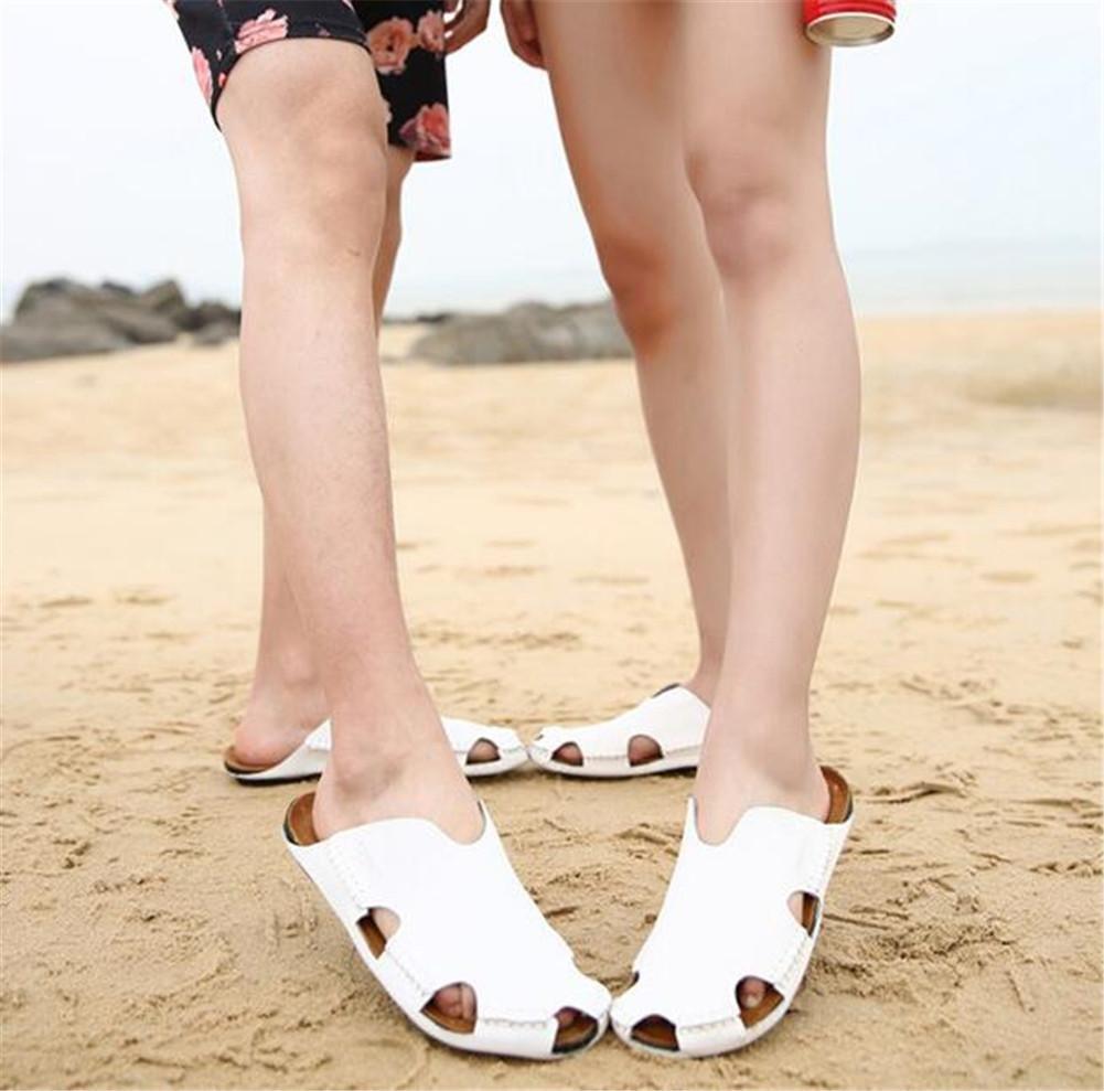 NSLXIE Frauen Männer Schuhe aus echtem Leder Unisex Erwachsene Zehe Sandalen Strand Sommer geschlossene Zehe Erwachsene Ziehen Sie auf Slipper Breathable Slides Rutschfeste Flip Flops Multi-color Größe 35 bis 43 , schwarz , EU36 Weiß-eu42 fc2397