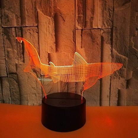 Requin Noir Base Veilleuses 3D pour enfants Lampe 3D 7 LED ...