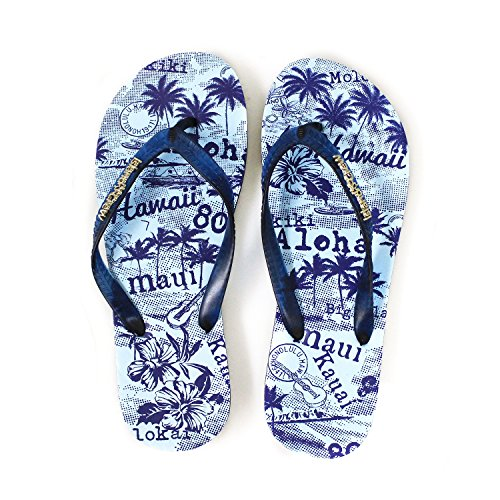 Hawaiian Print Sunset Beach Palm Hibiscus Wave Men Flip Flops Sandals in Vintage Blue L from Hawaii Hangover