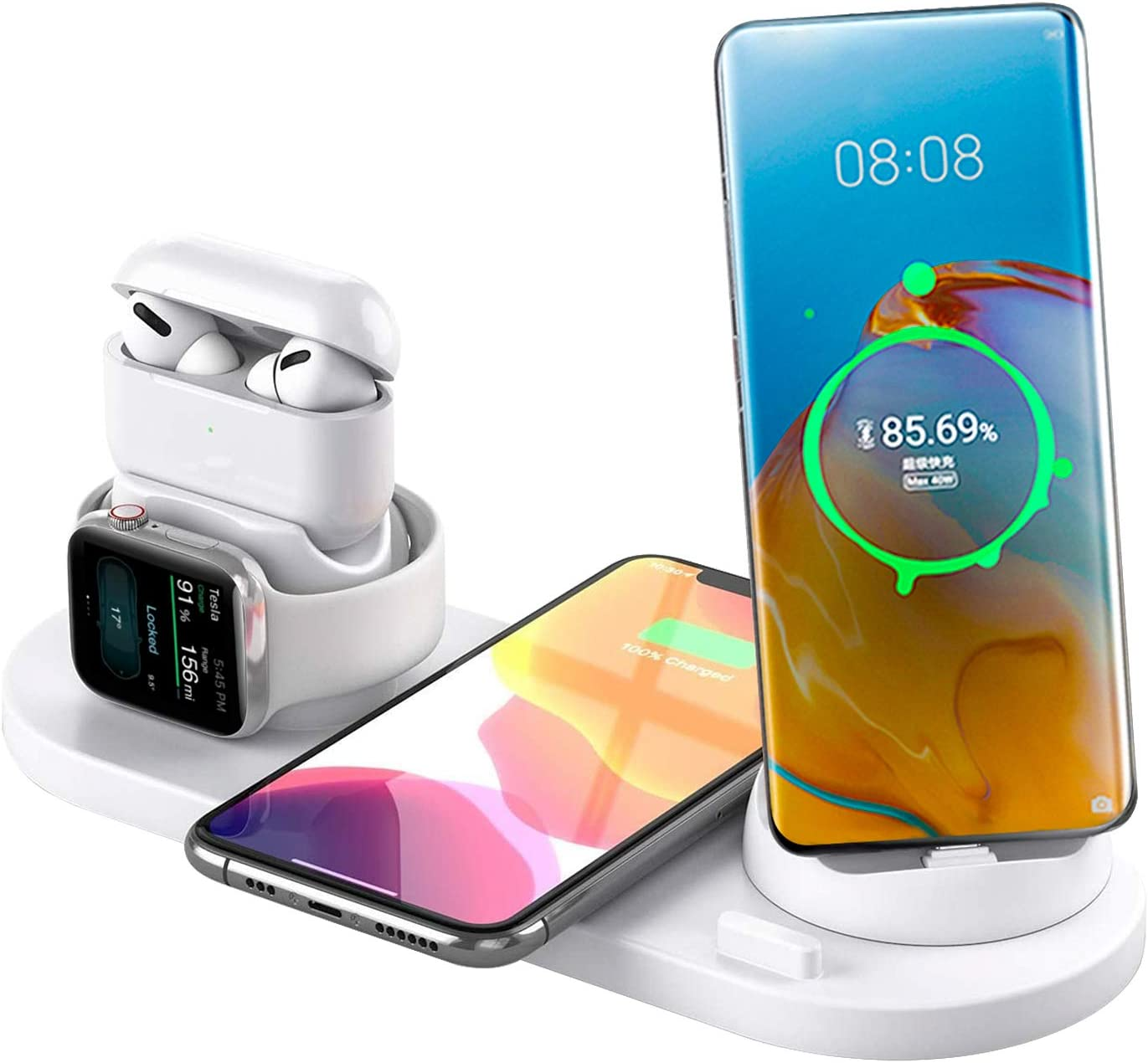 7in 1 Wireless Charger,Desk Charger Organizer Desktop Wireless Charging Station for Multiple Devices Compatible Dock for Airpods/Apple Watch 6/5/iPhone SE/11 Pro/XS/XR/Xs Plus/Samsung Adapter (White)