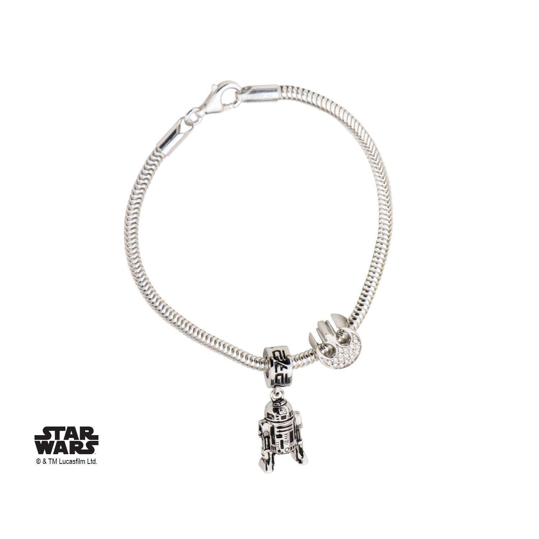 Star Wars R2-D2 925 Sterling Silver Bead Charm Bracelet w/Gift Box by Superheroes Brand