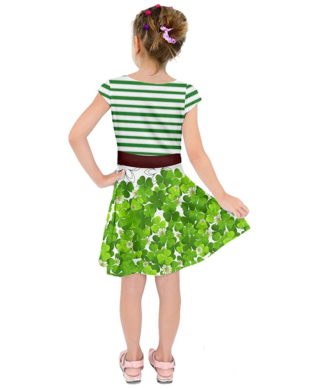 ecf8ffe4e2bb3 Amazon.com: PattyCandy Daddy's and Mommy's Lucky Charm Shamrock Toddler  Girl's Short Sleeve Dress Sizes for 2-13 Years: Clothing